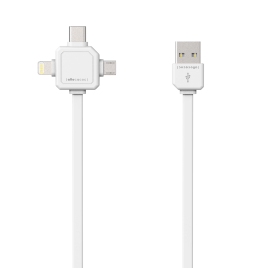 Allocacoc 3-in-1 USB Charge Sync Cable – White