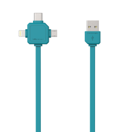 Allocacoc 3-in-1 USB Charge Sync Cable – Blue