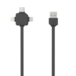 Allocacoc 3-in-1 USB Charge Sync Cable – Black