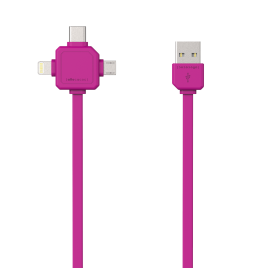 Allocacoc 3-in-1 USB Charge Sync Cable – Pink