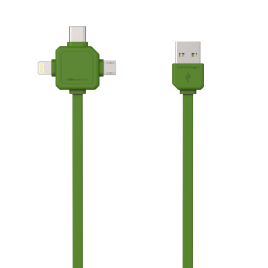 Allocacoc 3-in-1 USB Charge Sync Cable – Green
