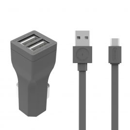 Allocacoc Illuminated CarCharger and micro UBScable (1.5m) – Grey